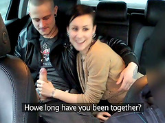 Taxi driver fucks this petite brunette together with her man