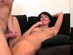 Brunette cougar sucks a dick before jumping on it energetically
