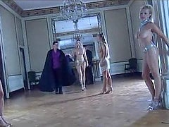 Four horny babes have fun with two guys in the castle