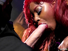 Ebony skank Jasmine Webb gets her cunt fucked from behind in a club