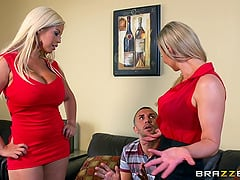 Sensual blondes Abbey Brooks and Bridgette B get fucked in FFM clip