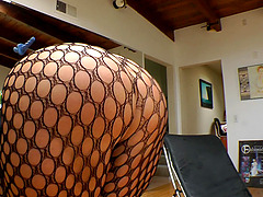 Fishnet Clad Blonde Toys Her Hot Ass with some Wild Toys