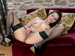 Brunette With Natural Tits In Stockings Masturbating