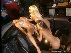 Hardcore lesbians scene with babes in thong fingering and toying in the car