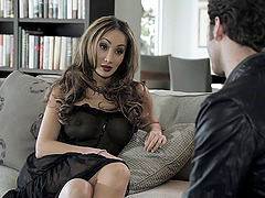 Divine cougar with fake tits riding huge dick hardcore doggystyle indoor