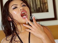 Nasty asian sweethearts receives a hot creampie after awesome bang scene