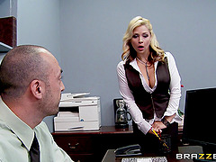 After a meeting this boss spears his secretary's tight pussy