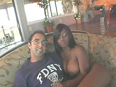 Superb ebony woman with big tits loves interracial oral sex