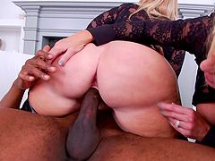 Mature blondes taste each others ass from a big black cock