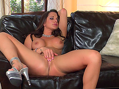 Cute brunette takes off her lingerie and masturbates