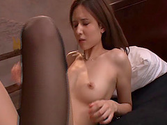 Fair haired Japanese babe taking part in this extra-ordinary threesome scene