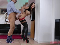 Lingerie clad hottie delivers a hot blowjob after being fucked hardcore