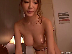 Japanese MILF with beautiful firm big tits riding a cock