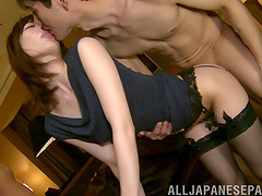 Dirty Asian whore in stocking has her cunt drilled in a threesome