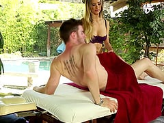 Skilled masseuse in lingerie blows her horny client outdoors