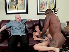 Slutty white wife fucked by BBC as her husband looks on