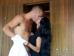Outstanding MILF in a sexy dress deepthroating a businessman's cock