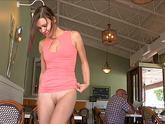 This is hilarious how a luring babe takes off her pant at a restaurant posing a solo clip