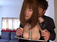 Leather catsuit torn off an Asian girl so she can get fucked