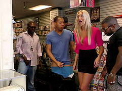 Slut at the dildo store gangbanged by black guys