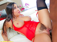 Hairy bush of a buxom babe in lingerie fucked by BBC