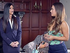 Headmistress India Summer fucking two big dick students