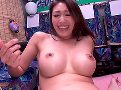 Fetching Japanese girl with large boobs gives a good sucking