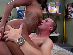 Big white dick drilling her soaking wet black pussy