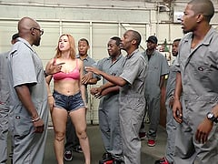 Horny inmates are ready to provide her with their large dicks!