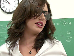 Slutty teacher does a double anal fuck with her students
