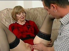 Sheer stockings are gorgeous on this mature cock whore