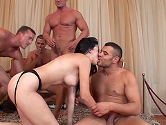 Pale senorita Betty Spark lets the guys bang her in all the holes