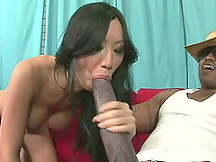 Hot ass Asian shaved pussy widened hardcore with big black cock