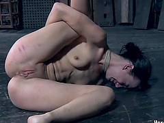 Screams as bondage slave gets tortured in BDSM roughly