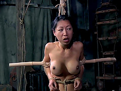Juicy pussy bondage dame tortured with ropes in BDSM