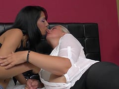 matured granny lesbian pulled closer to lick juicy pussy