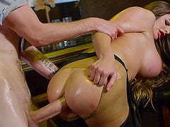 Oiled Cathy Heaven finally manages to take it up the butthole
