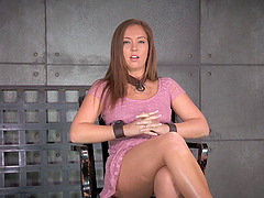 Curvy slave in bondage tied on chair when tortured in BDSM