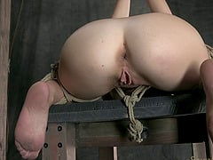 Naught chick punished by being fucked with a stiff dildo