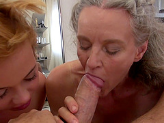 Tricia Teen joins an elderly woman for a great threesome