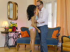 Melody Petite has her tiny pussy trained on the floor
