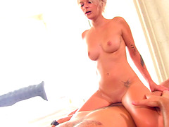 Dick craving blonde bends over for an erected boner