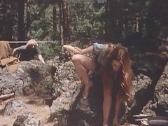 Hot sex session in a forest with an insatiable brunette