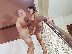 Lovely Diore drops on her knees for a fat throbbing boner