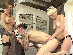 Two hot babe get to fuck this bisexual dude with a strapon