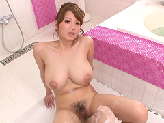 Shion Utsunomiya surprised by a guy while taking a bath