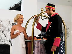 Small-titted Bella Rose seduces a bellhop and gets fucked hard