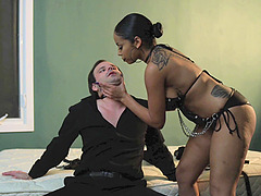 Ruthless Havana Ginger kinkily playing with her obedient slave
