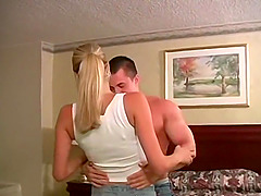 Skinny blonde babe with small tits fucks her boyfriend in a hotel room
