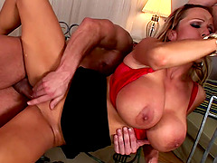 Milf with enormous tits Sharon Pink receiving two schlongs